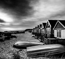 Mudeford Beach Huts B&W by Marcus Walters