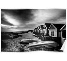 Mudeford Beach Huts B&W Poster