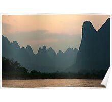 Li Jiang River at the limestone mountain peaks Poster