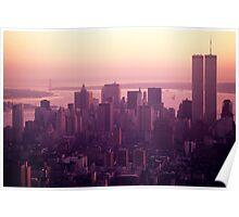 Foggy cityscape at sunset, Manhattan, New York, USA. Poster
