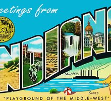 Greetings From Indiana Vintage Postcard Sticker by ukedward