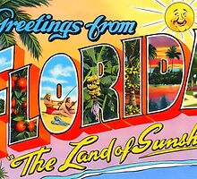 Greetings From Florida Vintage Postcard Sticker by ukedward