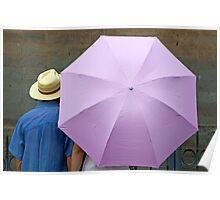 Sheltering under an umbrella Poster