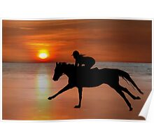 silhouette of a horse and rider galloping on beach Poster