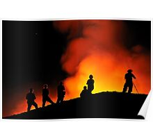 People watching lava flowing to the sea from Kilauea Volcano Poster