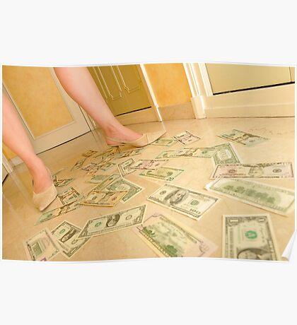 Woman's legs walking on Us dollars banknotes on floor. Poster