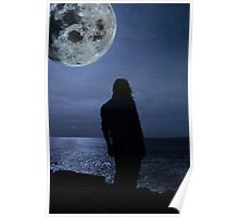 silhouette of a sad lone woman with a full moon on a cliff edge Poster