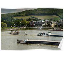 Boats on the Rhine,  Königswinter, NRW, Germany. Poster