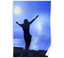 silhouette of lone woman facing a wave on cliff edge Poster