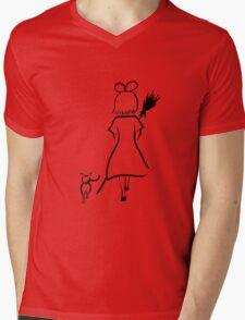 Kiki and Jiji walking Mens V-Neck T-Shirt