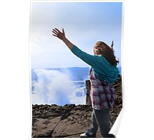 silhouette of lone woman in her 40s facing a giant powerful wave Poster