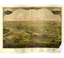 Panoramic Maps Birds eye view of the city of Lansing Michigan 1866 Poster