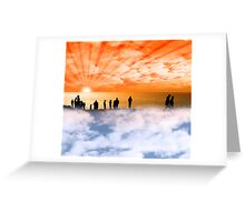 silhouette of people on the cliff edge above clouds Greeting Card