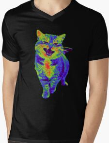 Psychedelic Cat Mens V-Neck T-Shirt