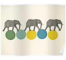 Travelling Elephants Poster
