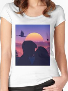Rising Sun and Flying Swan And Kissing Lovers Women's Fitted Scoop T-Shirt