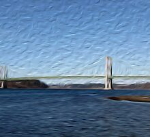 Tacoma Narrows Bridge Tradigital Photo Painting by JohnOdz