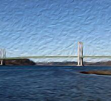 Tacoma Narrows Bridge Tradigital Photo Painting by JohnOdz