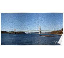 Tacoma Narrows Bridge Tradigital Photo Painting Poster