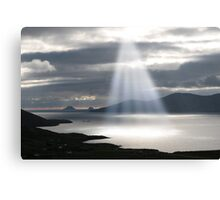 skellig rocks sun beams Canvas Print