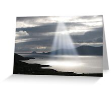 skellig rocks sun beams Greeting Card