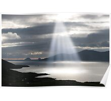 skellig rocks sun beams Poster