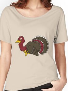 Thanksgiving Turkey with Red Feathers Women's Relaxed Fit T-Shirt