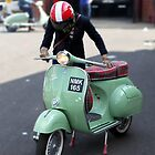 Vespa Sportique and rider. by Phil Bower