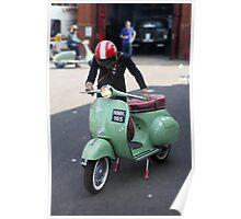 Vespa Sportique and rider. Poster