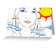 Woman in the clouds Greeting Card
