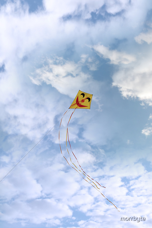 smiley kite in the clouds by morrbyte