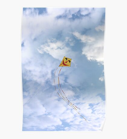 smiley kite in the clouds Poster