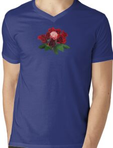 Red Roses and a Pink Rose Mens V-Neck T-Shirt