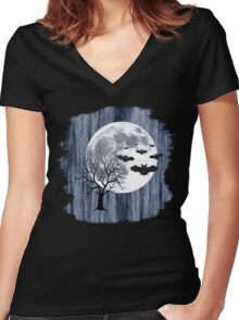 Creepy nocturnal landscape Women's Fitted V-Neck T-Shirt