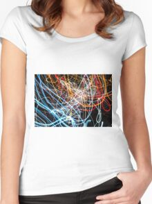 Lightpainting Single Wall Art Print Photograph 9 Women's Fitted Scoop T-Shirt