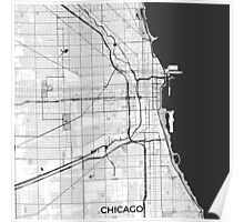 Chicago Map Gray Poster