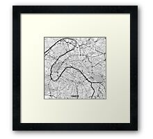 Paris Map Gray Framed Print