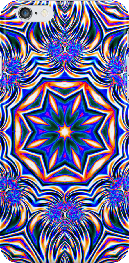 Psychedelic Kaleidoscope 1 Blue Mandala -  iPhone & iPod Case by Leah McNeir