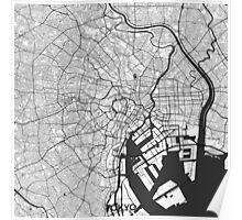 Tokyo Map Gray Poster