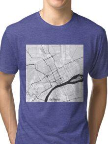 Detroit Map Gray Tri-blend T-Shirt