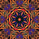 Psychedelic Kaleidoscope 1 Orange Mandala abstract iPhone & iPod Cases / Covers by Leah McNeir
