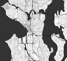 Seattle Map Gray by HubertRoguski