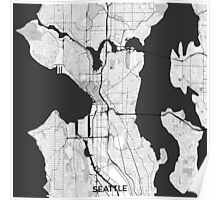 Seattle Map Gray Poster