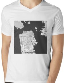 San Francisco Map Gray Mens V-Neck T-Shirt