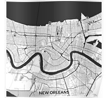 New Orleans Map Gray Poster