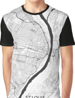 St Louis Map Gray Graphic T-Shirt