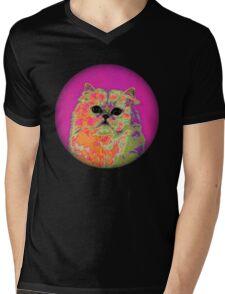Psychedelic Cat II Mens V-Neck T-Shirt