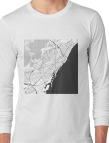 Barcelona Map Gray Long Sleeve T-Shirt