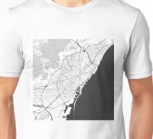 Barcelona Map Gray Unisex T-Shirt