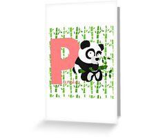 p for panda Greeting Card